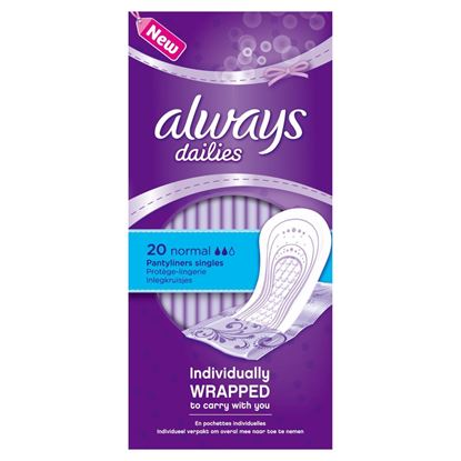 Picture of Always Dailies 20 Normal PantyLiners Individually Wrapped