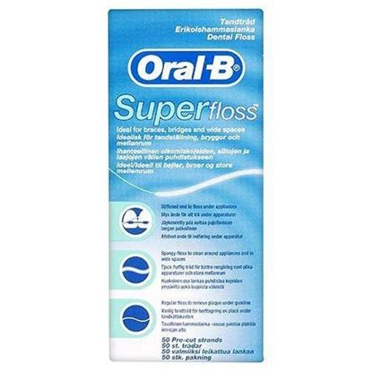 Picture of Oral B SuperFloss Super Dental Floss for Braces Bridges - 50 Strips