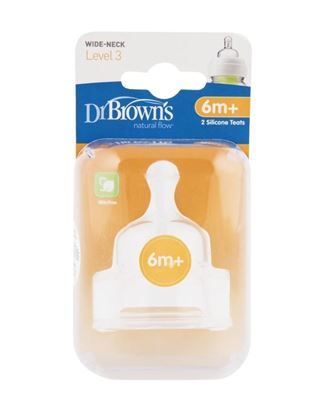 Picture of Dr Browns Level 3 Wide neck Silicone Teat(Twin Pack) 6+ month