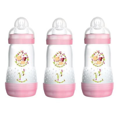 Picture of Mam 260Ml Anti-Colic Bottle Self Sterilising Bottle 3 Pack Pink
