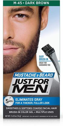 Picture of Just For Men Colour Gel M-45 For Beards, Moustaches And Sideburns Natural Dark Brown-Black