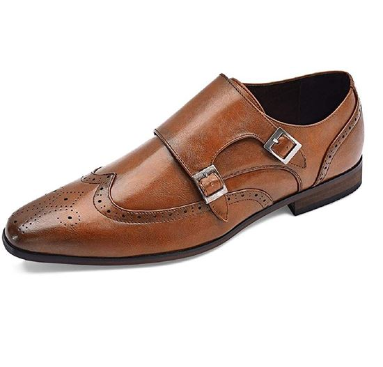 Picture of Men's Oxford Shoes Double Monk Strap Brown-01