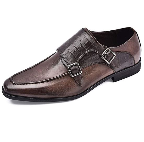 Picture of Men's Oxford Shoes Double Monk Strap Brown-02