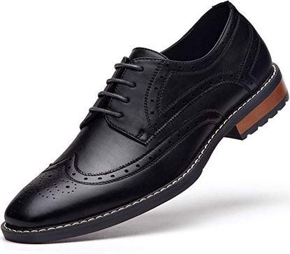 Picture of Men's Wingtip Dress Shoes Formal Oxfords 06 black