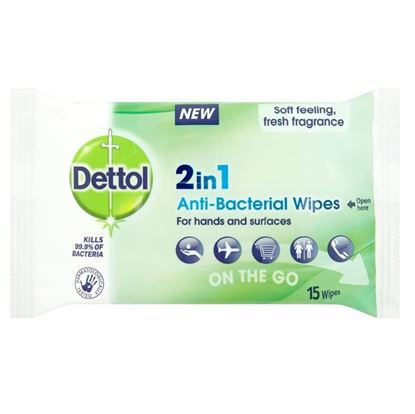 Picture of DETTOL 2IN1 ANTI-BACTERIAL 15 WIPES