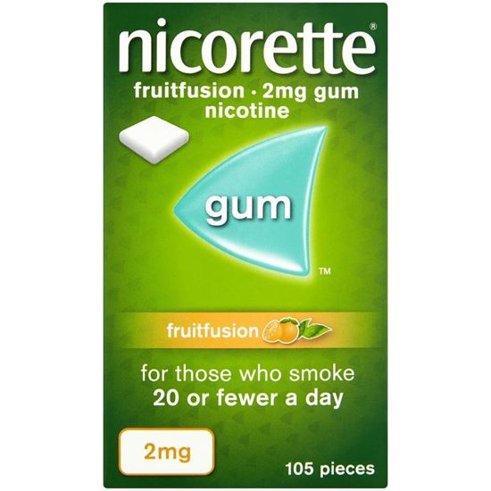 Picture of Nicorette Fruitfusion 2mg Sugar Free Nicotine Gum 105s