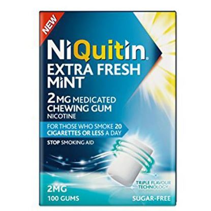 Picture of NiQuitin Extra Fresh Mint Gum, 2 mg, 100 Gums