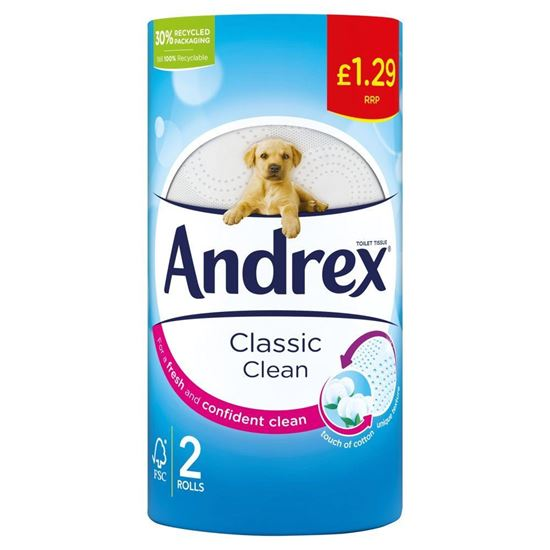 Picture of Andrex Classic Clean Toilet Tissue, 2 Rolls