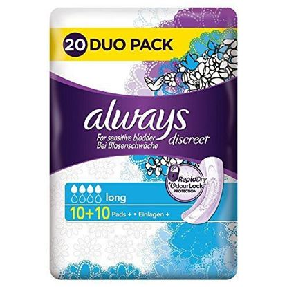 Picture of Always Discreet Incontinence Long Pads, 20 each